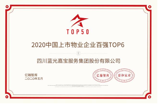 高质量发展 蓝光嘉宝服务荣膺2020年中国上市物业企业TOP6