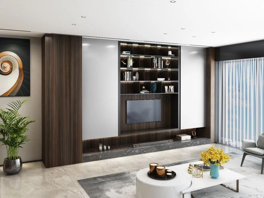 客厅别再做花里胡哨的电视背景墙了,整装多功能铝板电视柜它不香吗?